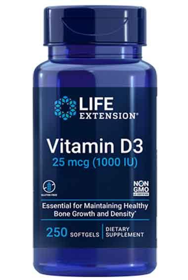 Vitamine D3 - 1000 IU (250 softgels)