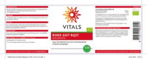 Vitals Rode Gist Rijst (120 capsules)